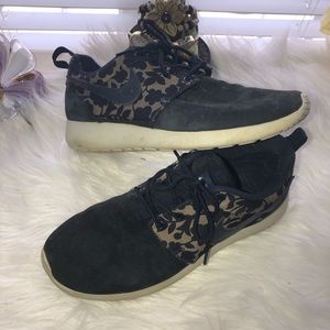 Navy suede custom flower nikes